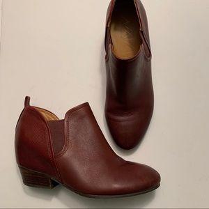 Naya Felix Oxblood deep red leather ankle booties